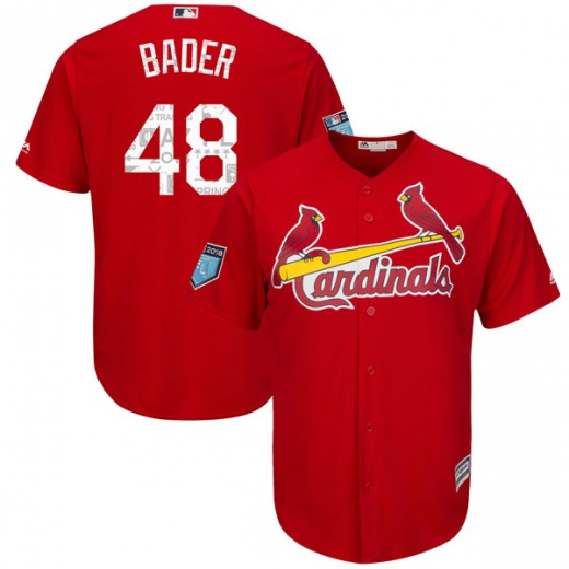 Men s Majestic St. Louis Cardinals Harrison Bader Scarlet Cool Base 2018  Spring Training Jersey - Authentic 9d5dd85b1